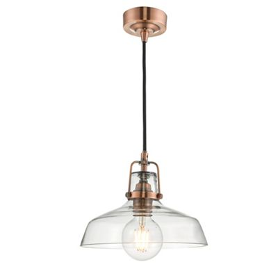 Home collection miles copper metal and glass pendant light debenhams