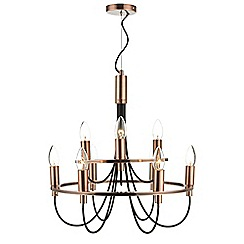 Home Collection - Zach Copper Metal and Black Chandelier Light