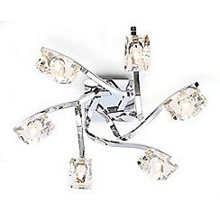 Debenhams - Bella Cut Glass and Silver Metal 6 Light Flush Light