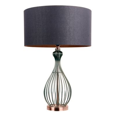 Home collection black and copper metal hugo table lamp