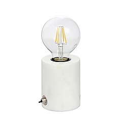 J by Jasper Conran - White Marble Table Lamp with LED Bulb