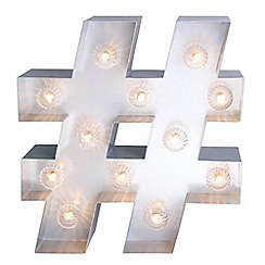 Home Collection - Grey Metal 'Hashtag' Marquee Wall Light