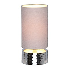 Debenhams - 'Lottie' Silver Hammered Metal Touch Table Lamp