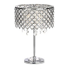 Home Collection - Serenity Silver Metal and  Crystal Glass Table Light