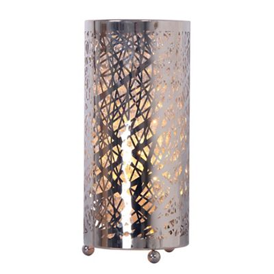 Home collection natalie silver metal and clear crystal glass table light debenhams