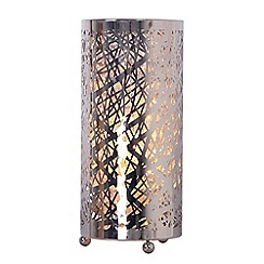 Home Collection - 'Natalie' Silver Metal and Clear Crystal Table Lamp