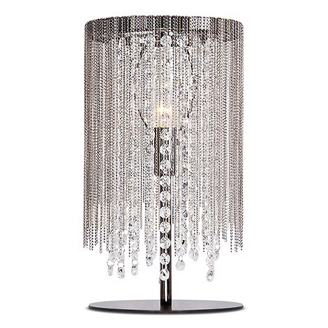 Home collection riley metal chain and crystal glass gunmetal table light debenhams