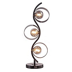 Debenhams - 'Kai' Gunmetal Metal and Smoked Glass Table Lamp