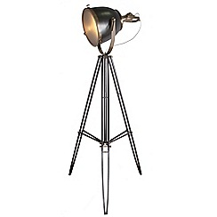 Home Collection - Autumn Gunmetal and Champagne Metal Tripod Floor Lamp