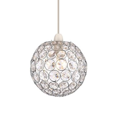 Home collection kayla crystal glass ball easyfit ceiling shade