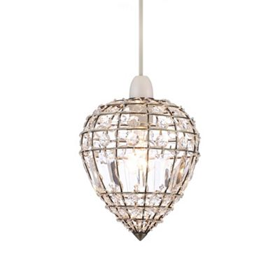 Home collection kylie crystal glass antique brass easyfit ceiling shade