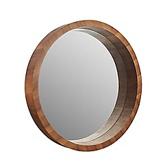 Home Collection - Round wooden frame wall mirror