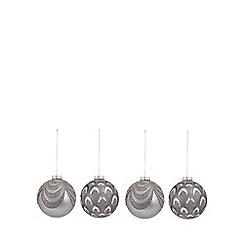 Debenhams - 4 pack silver glitter baubles