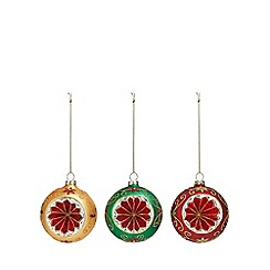 Debenhams - 3 pack assorted concave hand painted glitter Christmas tree baubles