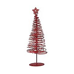 Debenhams - Red glitter swirl Christmas tree ornament