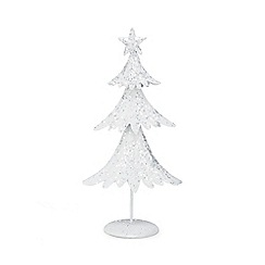 Debenhams - White glitter small Christmas tree ornament