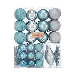debenhams pack of 65 silver and blue christmas tree decorations - Blue Christmas Decorations