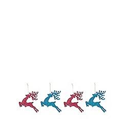 Debenhams - 4 Pack Multicoloured Glitter Reindeer Christmas Tree Decorations