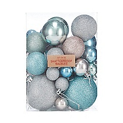 Debenhams - Pack of 50 Assorted Shatterproof Christmas Tree Baubles