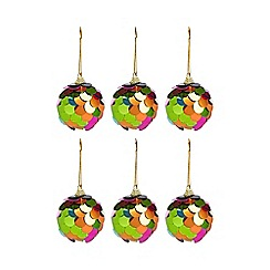 Debenhams - Pack of 6 multicoloured sequin baubles