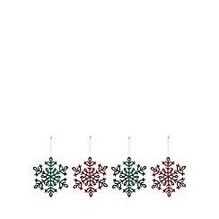 Debenhams - Pack of 8 multicoloured glitter snowflake tree decorations