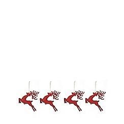 Debenhams - 4 pack red glitter reindeer tree decorations