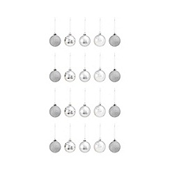 Debenhams - Pack of 20 silver shatterproof baubles