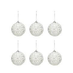Debenhams - Pack of 6 Silver Sequinned Christmas Tree Baubles