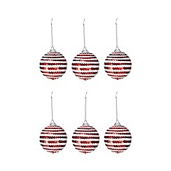 Debenhams - Pack of 6 red and white sequined baubles