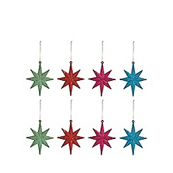 Debenhams - Pack of 8 multicoloured glitter star tree decorations