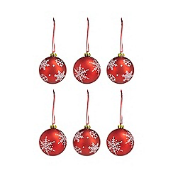 Debenhams - Pack of 6 red matte snowflake print baubles