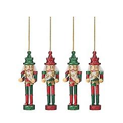 Debenhams - 4 pack red and green nutcracker Christmas tree decorations