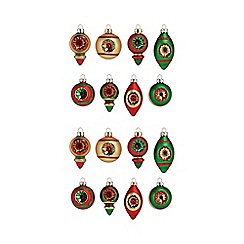 Debenhams - Pack of 16 assorted concave hand painted glitter Christmas tree baubles