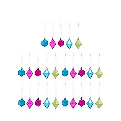 Debenhams - Pack of 25 assorted geometric Christmas tree baubles