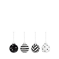 Debenhams - 4 pack black and white striped and spotted Christmas tree baubles