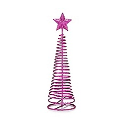 Debenhams - Pink glitter swirl Christmas tree ornament