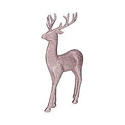 Debenhams - Pink glitter reindeer ornament