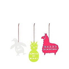 Debenhams - 3 pack assorted Christmas tree decorations