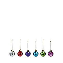 Debenhams - Pack of 6 assorted disco ball Christmas tree decorations