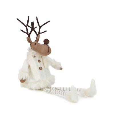 Debenhams   White Swing Legs Reindeer Christmas Ornament by Debenhams