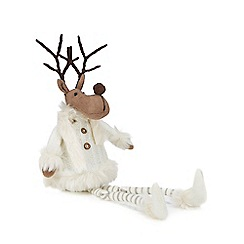 Debenhams - White swing legs reindeer Christmas ornament