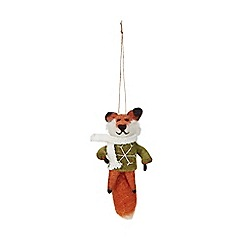Debenhams - Multicoloured wool fox Christmas tree decoration