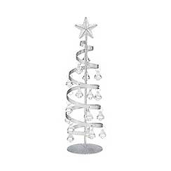 Debenhams - Silver glitter spiral Christmas tree ornament