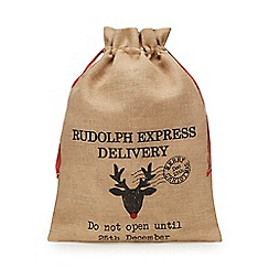 Debenhams - Brown reindeer hessian sack