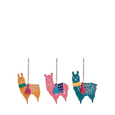 Debenhams   3 Pack Multicoloured Llama Tree Decorations by Debenhams
