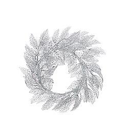 Debenhams - Silver Glitter Cut Out Leaf Wreath