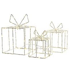 Kaemingk - Set of 3 silver LED giftbox decorations