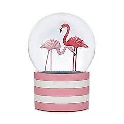 Debenhams - Pink flamingo snow globe