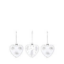 Debenhams - 3 pack clear hand painted heart baubles