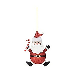 Debenhams - Red glitter Santa Christmas tree decoration